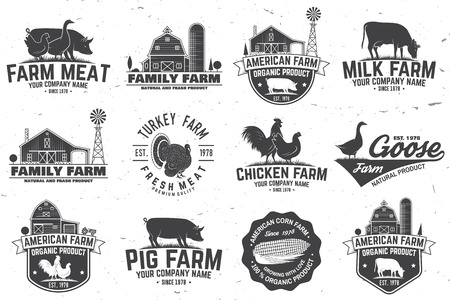American Farm Badge or Label. Vector illustration. Stock Illustratie