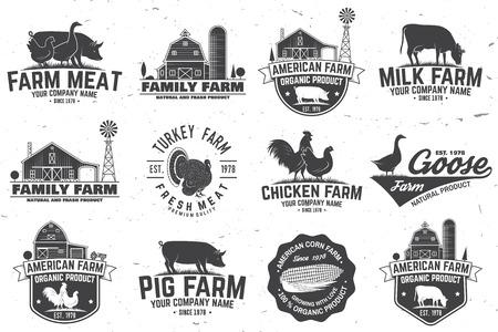 Insignia o etiqueta de la granja estadounidense. Ilustración vectorial Foto de archivo - 96659065