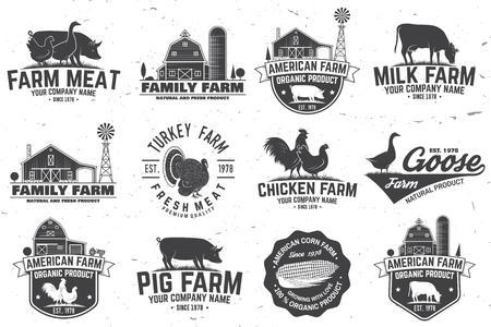 Odznaka lub etykieta amerykańskiej farmy Ilustracje wektorowe