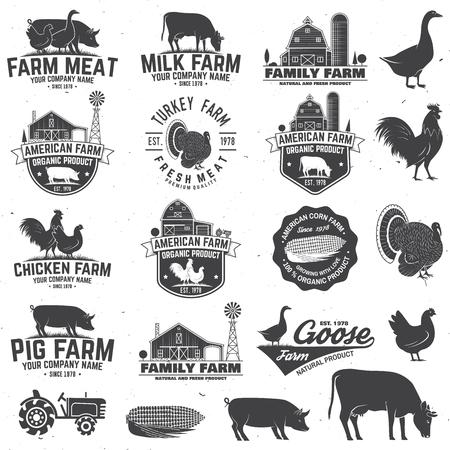 American Farm Badge or Label. Vector illustration. 일러스트