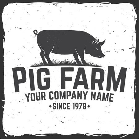 Pig Farm Badge or Label. Vector illustration. Illustration