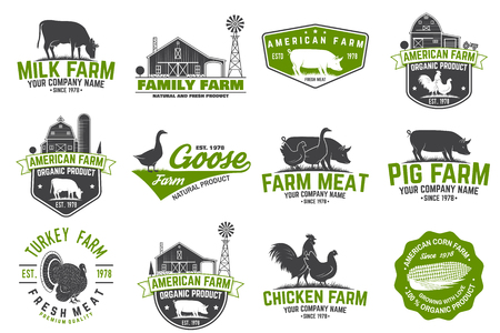 American Farm Badge or Label. Vector illustration. Illusztráció