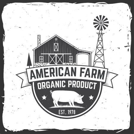 American Farm Badge or Label. Vector illustration. Çizim