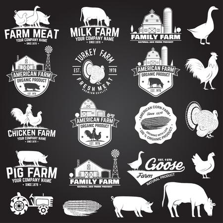 American Farm Badge or Label. Vector illustration. Ilustrace