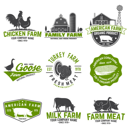 American Farm Badge or Label. Vector illustration. 向量圖像