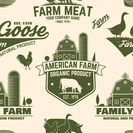 American Farm seamless pattern. Vector.