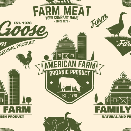 American Farm seamless pattern. Vector.