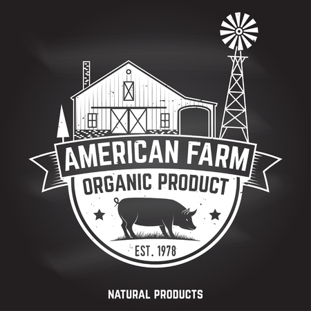 American Farm Badge or Label with barn and pig. Vector illustration.