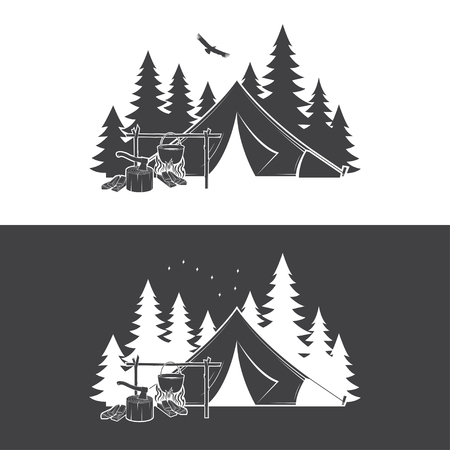Summer camp day and night. Vector illustration. Concept for shirt or logo, print, stamp or tee.