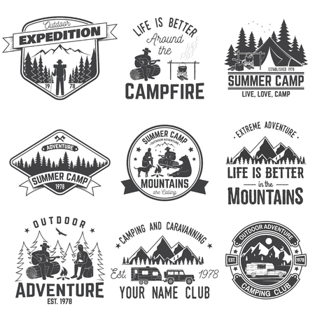 Summer camp. Vector illustration. Concept for shirt or logo, print, stamp or tee. Vettoriali