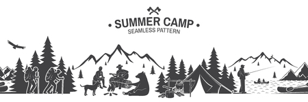 Summer camp seamless pattern. Vector illustration. Outdoor adventure background for wallpaper or wrapper. Seamless scene with mountains, bear, dog, girl, man with guitar sitting around campfire.  イラスト・ベクター素材