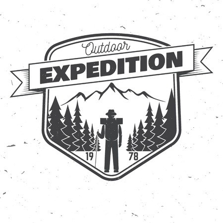 Outdoor expedition badge. Vector illustration.