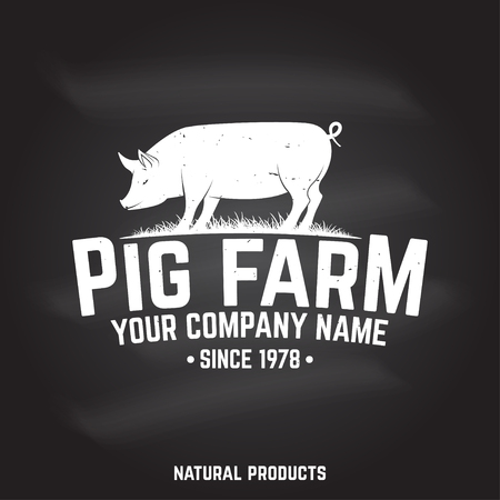 Pig Farm Badge or Label. Vector illustration. 写真素材