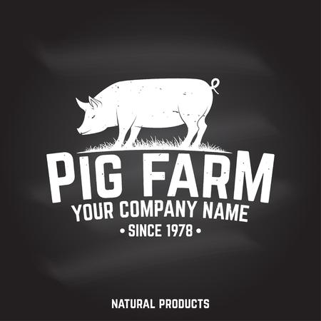 Pig Farm Badge or Label. Vector illustration. Stock Photo
