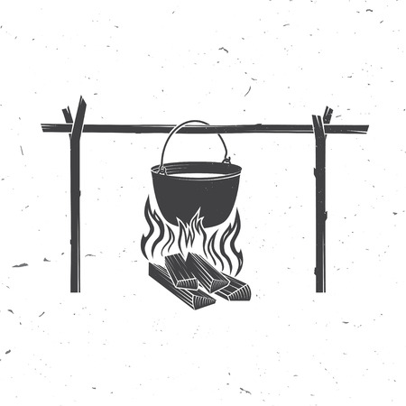 Pot on the fire silhouette. Vector illustration. Stock Photo