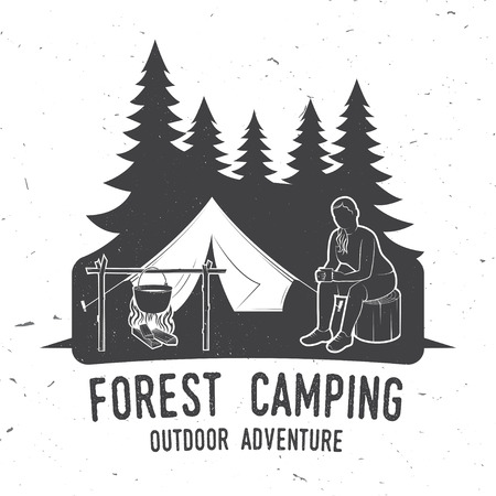 Camping extreme adventure . Vector illustration. Stock Photo