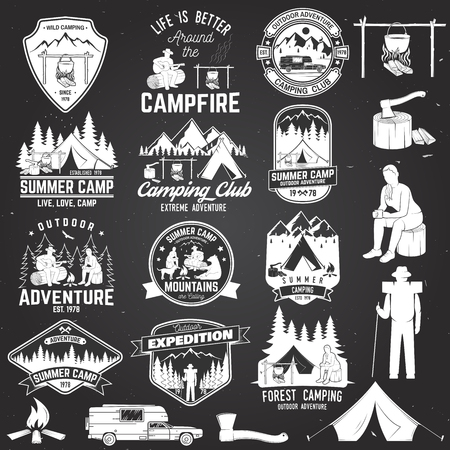 Summer camp vector illustration. Concept for shirt or icon, print, stamp or tee.