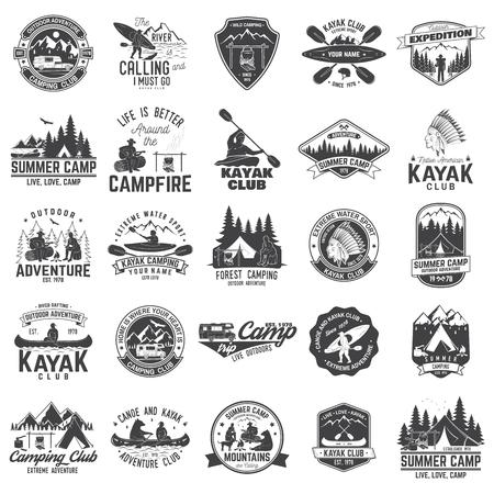 カヌー、カヤック、キャンプクラブバッジのセット