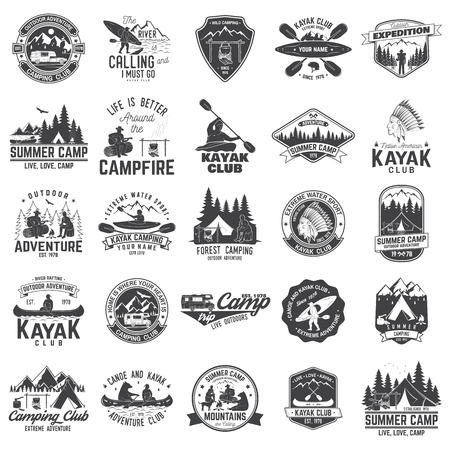 Set of canoe, kayak and camping club badge
