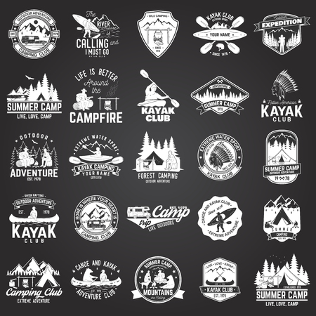 Set of canoe, kayak and camping club badge illustration.