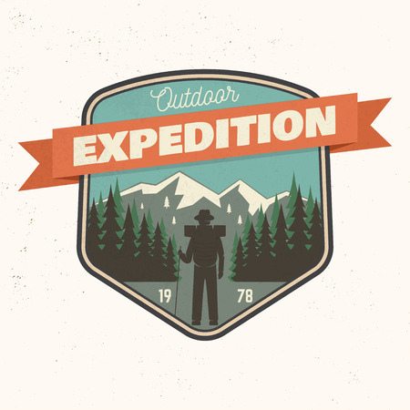 Outdoor expedition patch with mountain. Vector illustration.