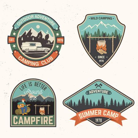 Set of Summer camp badges. Vector illustration.