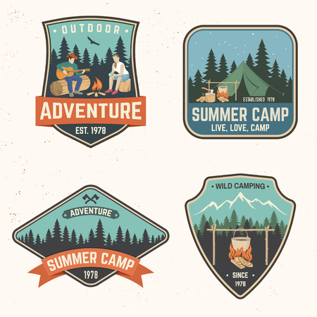 Summer camp and adventure stamps vector illustration.