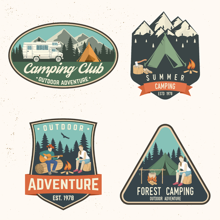 Summer camp. Vector illustration. Concept for shirt or logo, print, stamp or tee. Stock Illustratie