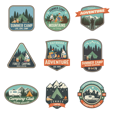 Summer camp. Vector illustration. Concept for shirt or logo, print, stamp or tee. 일러스트