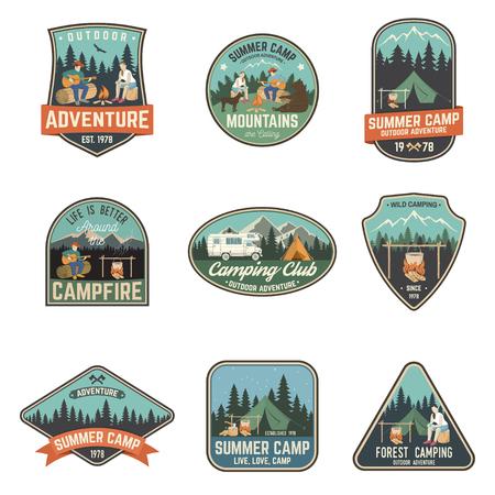Summer camp. Vector illustration. Concept for shirt or logo, print, stamp or tee. 向量圖像