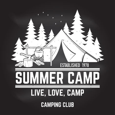 Summer camp. Vector illustration. Concept for shirt or logo, print, stamp or tee. Ilustracja