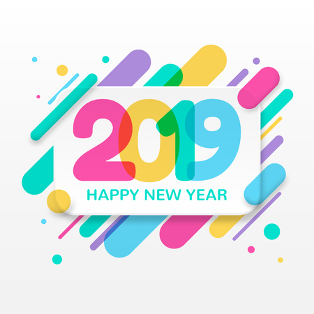 2019 Happy New Year greeting card background design Illustration