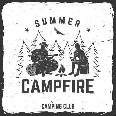 Summer campfire badge, vector illustration. A concept for shirt or print, stamp, travel badge or tee Illustration