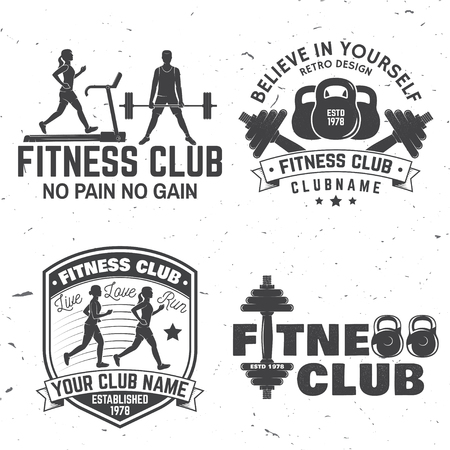 Set of fitness club badges, vector illustration. A concept for shirt or print, stamp, travel badge or tee