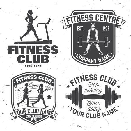 Set of fitness club badges. Vector. Concept for shirt or print, stamp, patch or tee