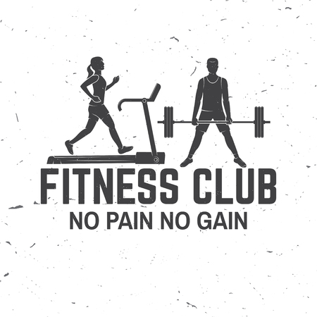Fitness club. No pain no gain. Vector. For fitness centers emblems, gym signs