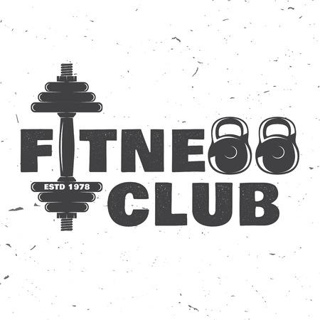 Badge voor fitnessclub. Vector illustratie.