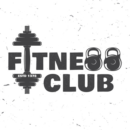 Fitness club badge. Vector illustration. Vettoriali