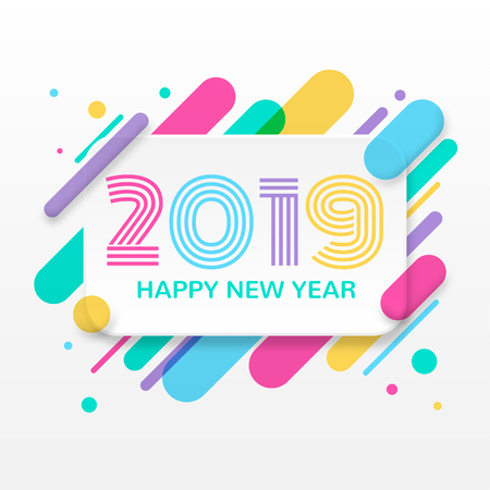 2019 Happy New Year greeting card Reklamní fotografie - 99690486