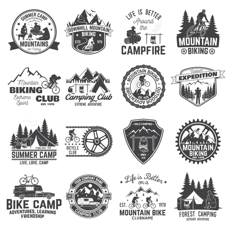 Set of Mountain biking and camping club badge. Vector. Concept for shirt, print, stamp or tee. Vintage typography design with mountain camp and mountain biker club silhouette. Extreme adventure. Ilustração