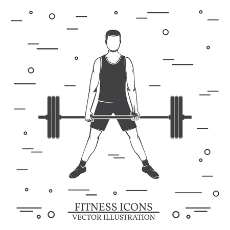 Man doing heavy deadlifts in sumo position. Vector illustration.