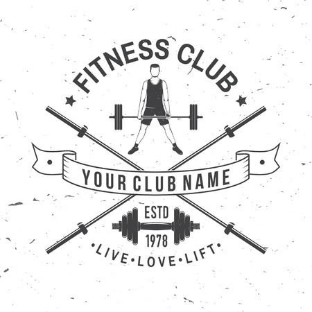 Fitness club badge. Vector. For fitness centers emblems, gym signs and others related health and gym business. Man doing heavy deadlifts in sumo position. Man lifting barbells at gym Archivio Fotografico - 100049165