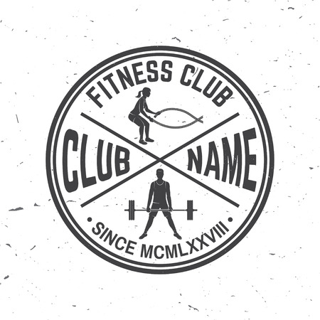 Fitness club badge. Vector. For fitness centers emblems, gym signs and others related health and gym business. Girl doing exercise with battle ropes and man doing heavy deadlifts