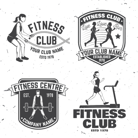 Set of fitness club badges. Vector.For fitness centers emblems, gym signs and others related health and gym business. Girl run on the treadmill machine, with battle ropes and Man doing heavy deadlifts Ilustracja