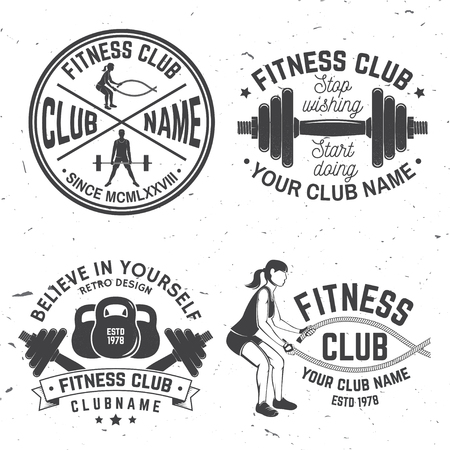 Set of fitness club badges. Vector.For fitness centers emblems, gym signs and others related health and gym business. Girl run on the treadmill machine, with battle ropes and Man doing heavy deadlifts Illustration