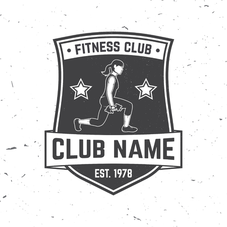 Fitness centre badge. Vector. For fitness centers emblems, gym signs and others related health and gym business. Woman with dumbbells . Concept for shirt or print, stamp, patch
