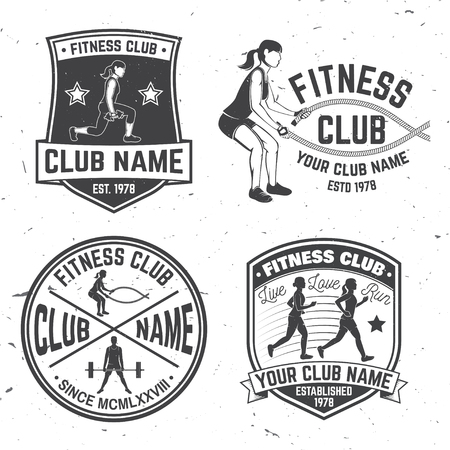 Set of fitness club badges. Vector.For fitness centers emblems, gym signs and others related health and gym business. Girl run on the treadmill machine, with battle ropes and Man doing heavy deadlifts Archivio Fotografico - 100050441