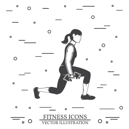 Girl do exercises with dumbbells. Vector illustration. Stock fotó