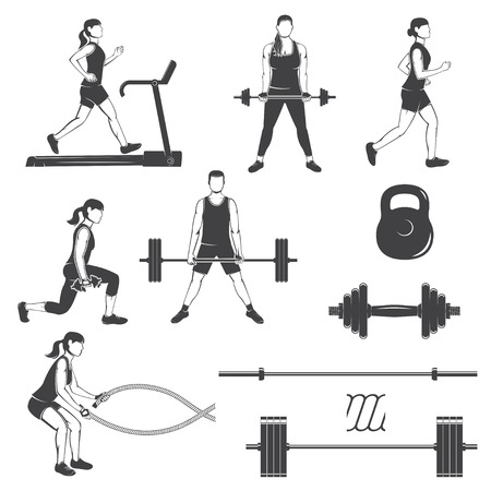 Set of fitness girls with fitness equipments silhouette