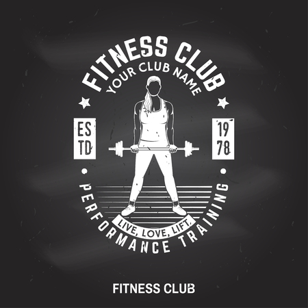 Fitness centre badge. Vector.